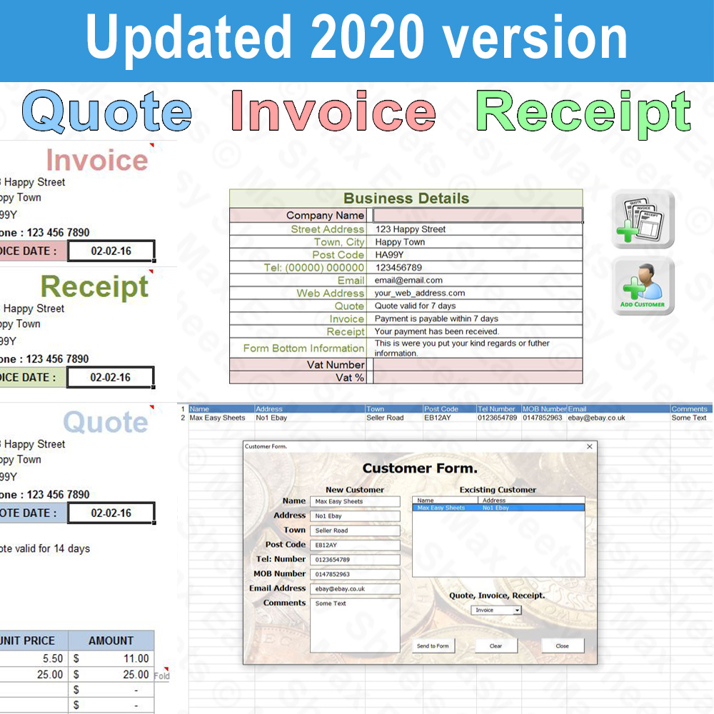 Invoice Receipt And Quote Template Generator Windows Excel Spreadsheet Us Ebay